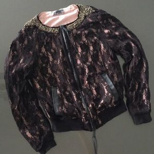 Tops - Diesel Lace and leather bomber jacket S